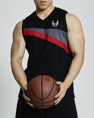 Sleeveless V-Neck Basketball Jersey (Black)