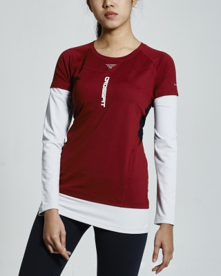 Crossfit Long Sleeve Tops (Maroon)